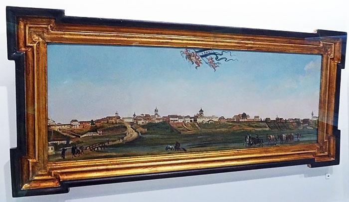 Foto van schilderij met panorama van São Paulo